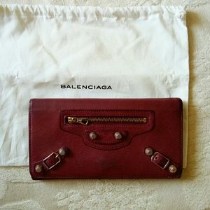 Auth Balenciaga leather long wallet red